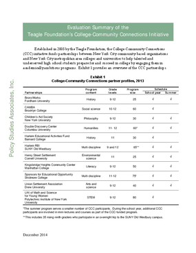 Evaluation Summary of the Teagle Foundation's College -Community Connections Initiative
