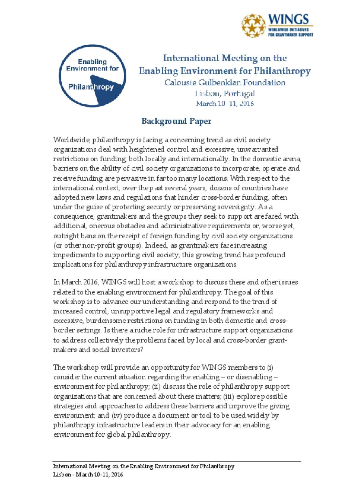 International Meeting on the Enabling Environment for Philanthropy