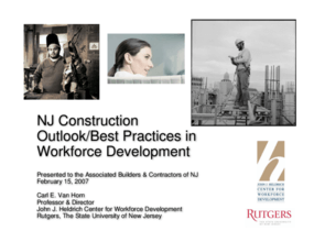 New Jersey Construction-Outlook/Best Practices in Workforce Development
