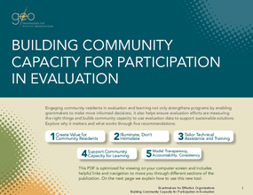 Building Community Capacity for Participation in Evaluation: Why It Matters and What Works