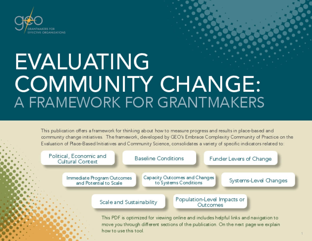 Evaluating Community Change: A Framework for Grantmakers