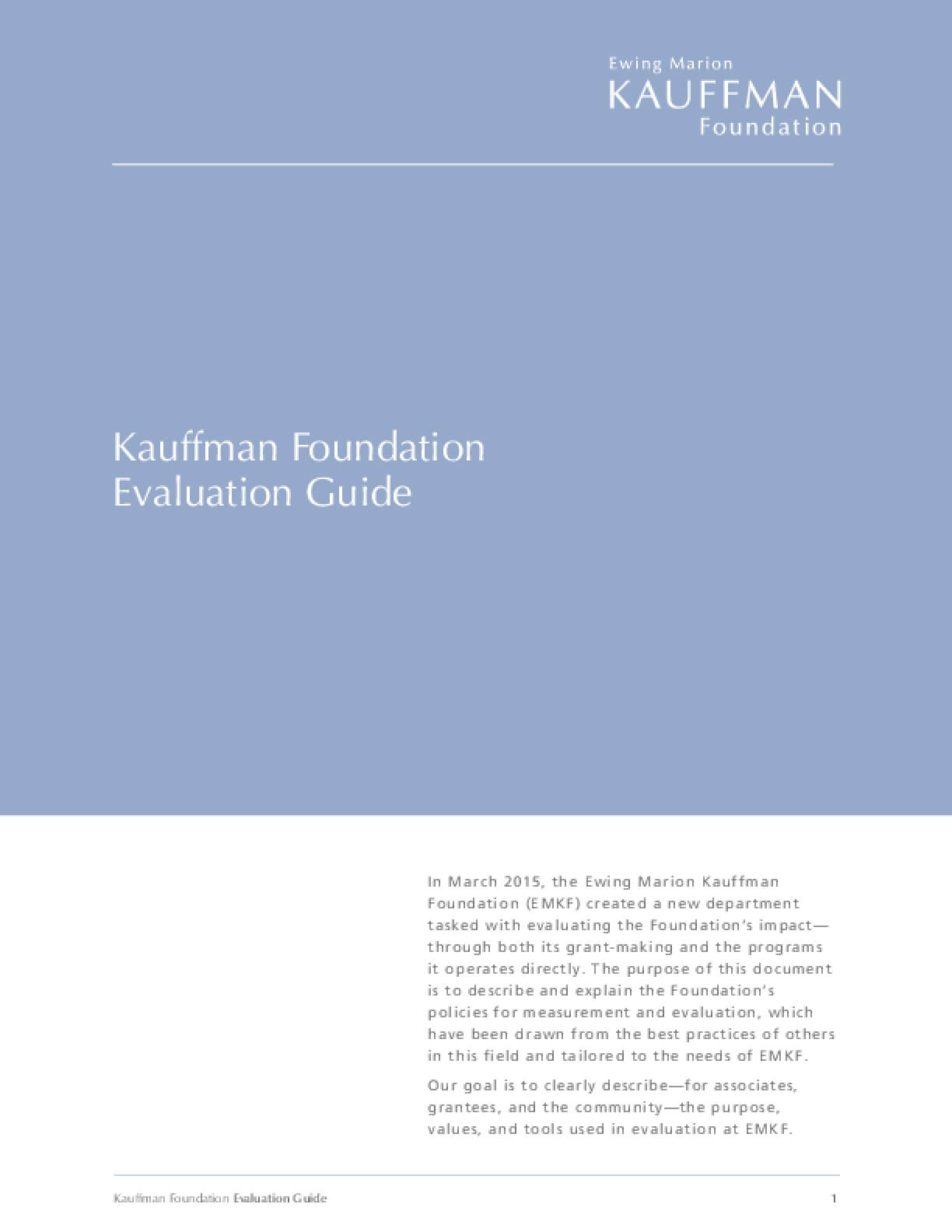 Kauffman Foundation Evaluation Guide