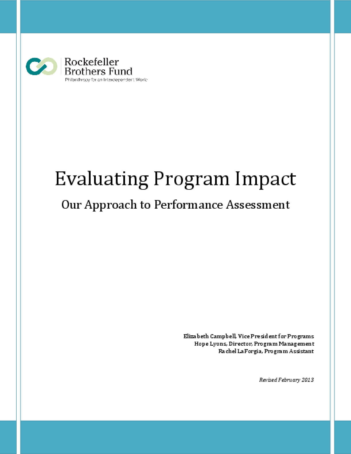 Evaluating Program Impact: Our Approach to Performance Assessment