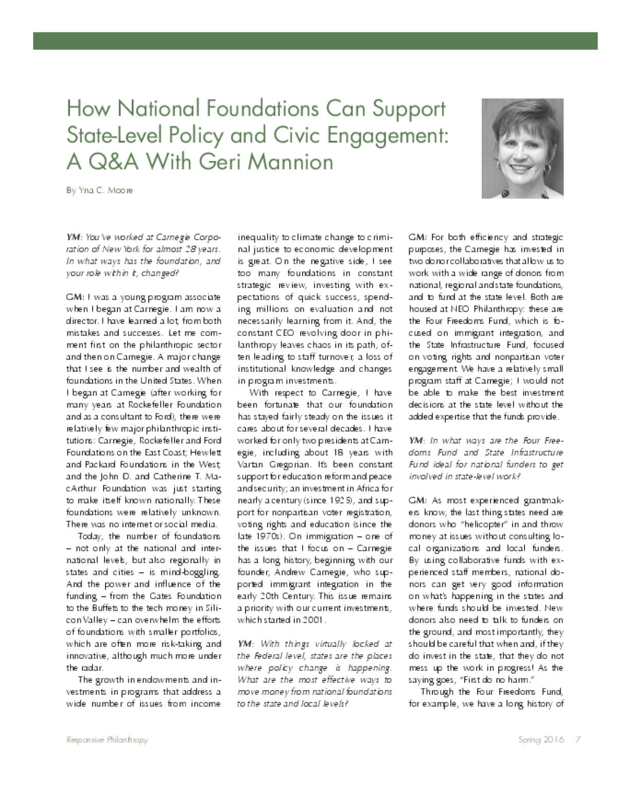 How National Foundations Can Support State-Level Policy and Civic Engagement: A Q&A With Geri Mannion