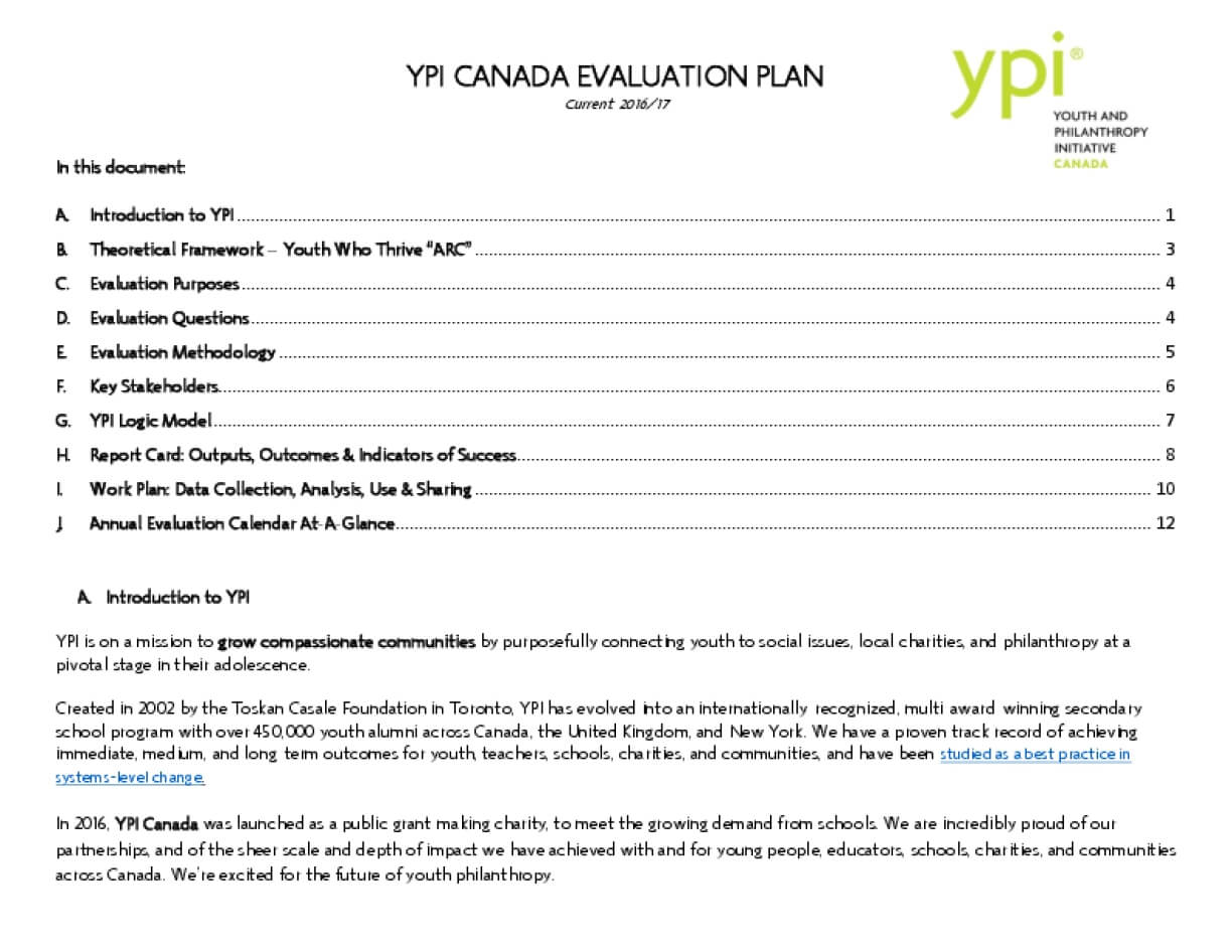 Youth and Philanthropy Initiative (YPI) Canada Evaluation Plan