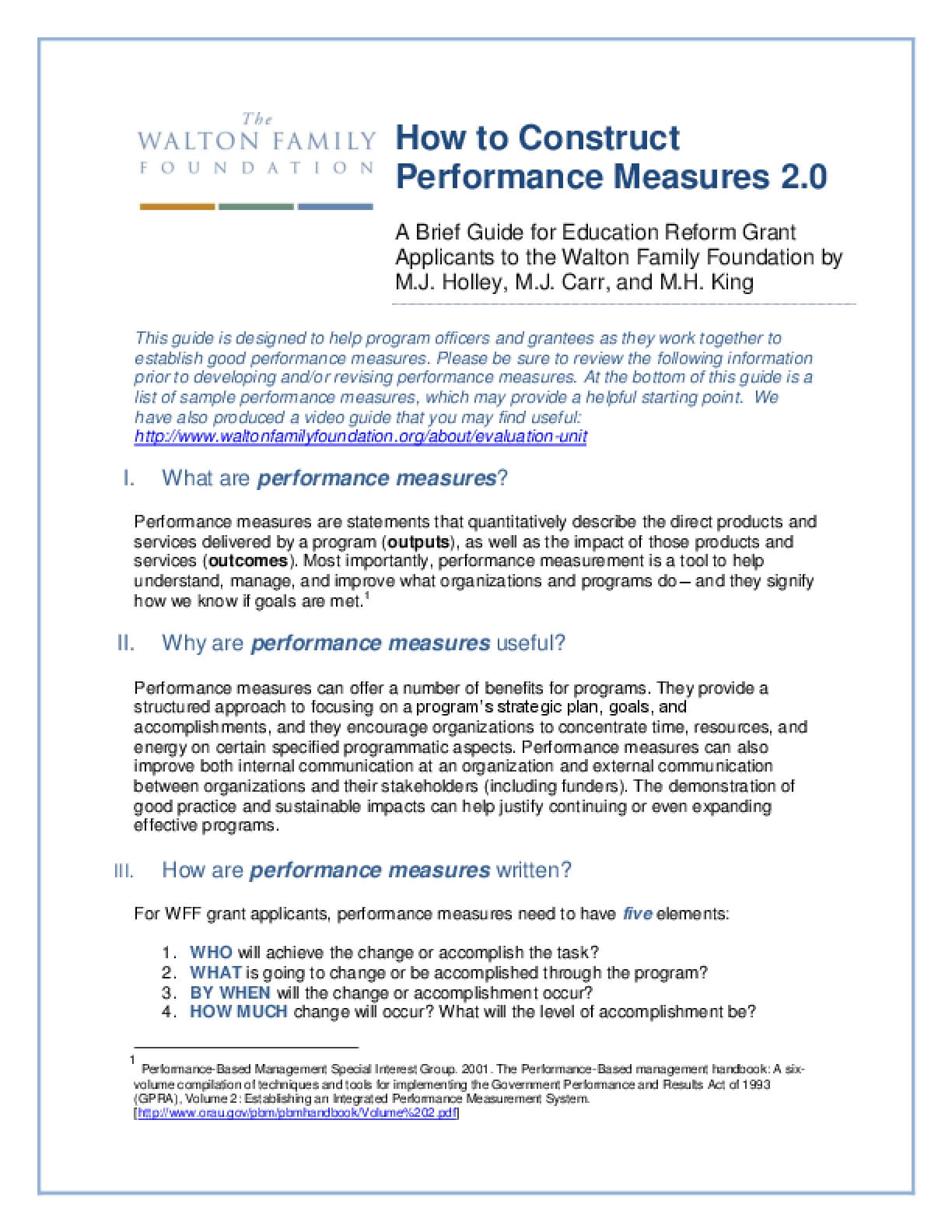How to Construct Performance Measures 2.0: A Brief Guide for Education Reform Grant Applicants to the Walton Family Foundation