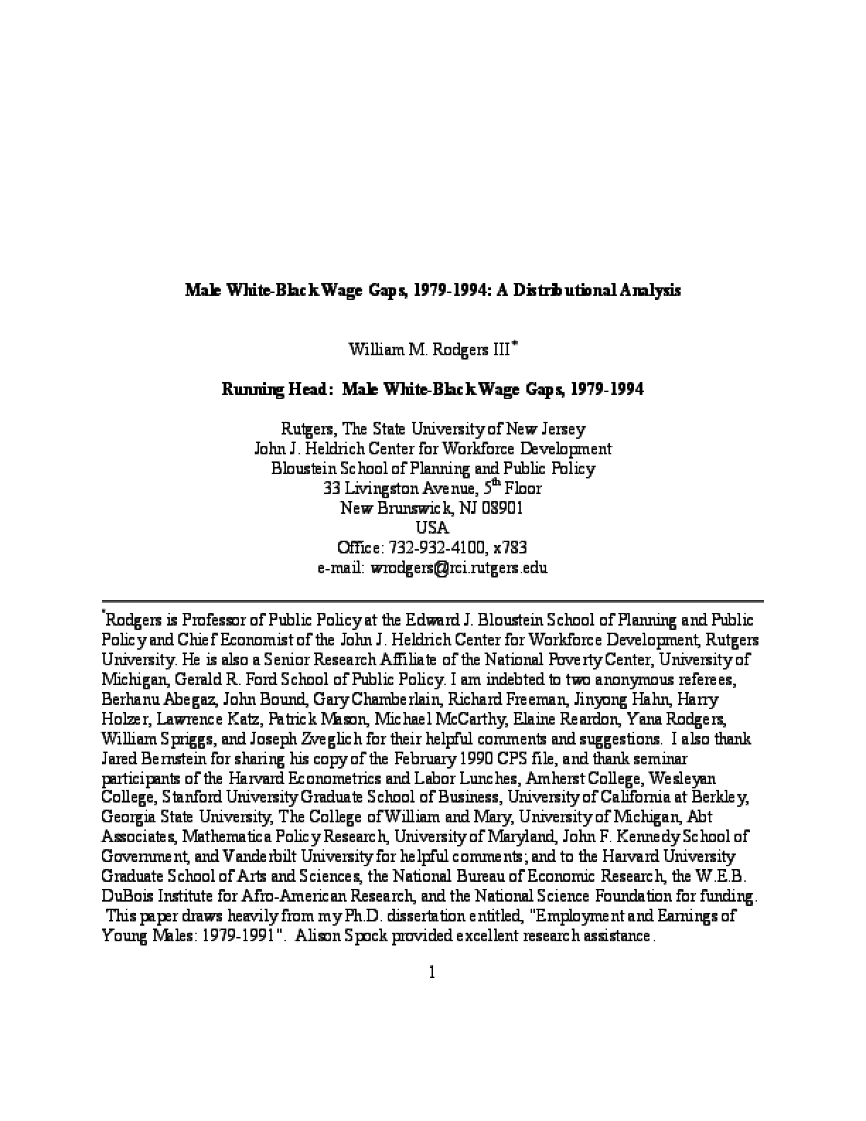 Male White-Black Wage Gaps, 1979-1994: A Distributional Analysis