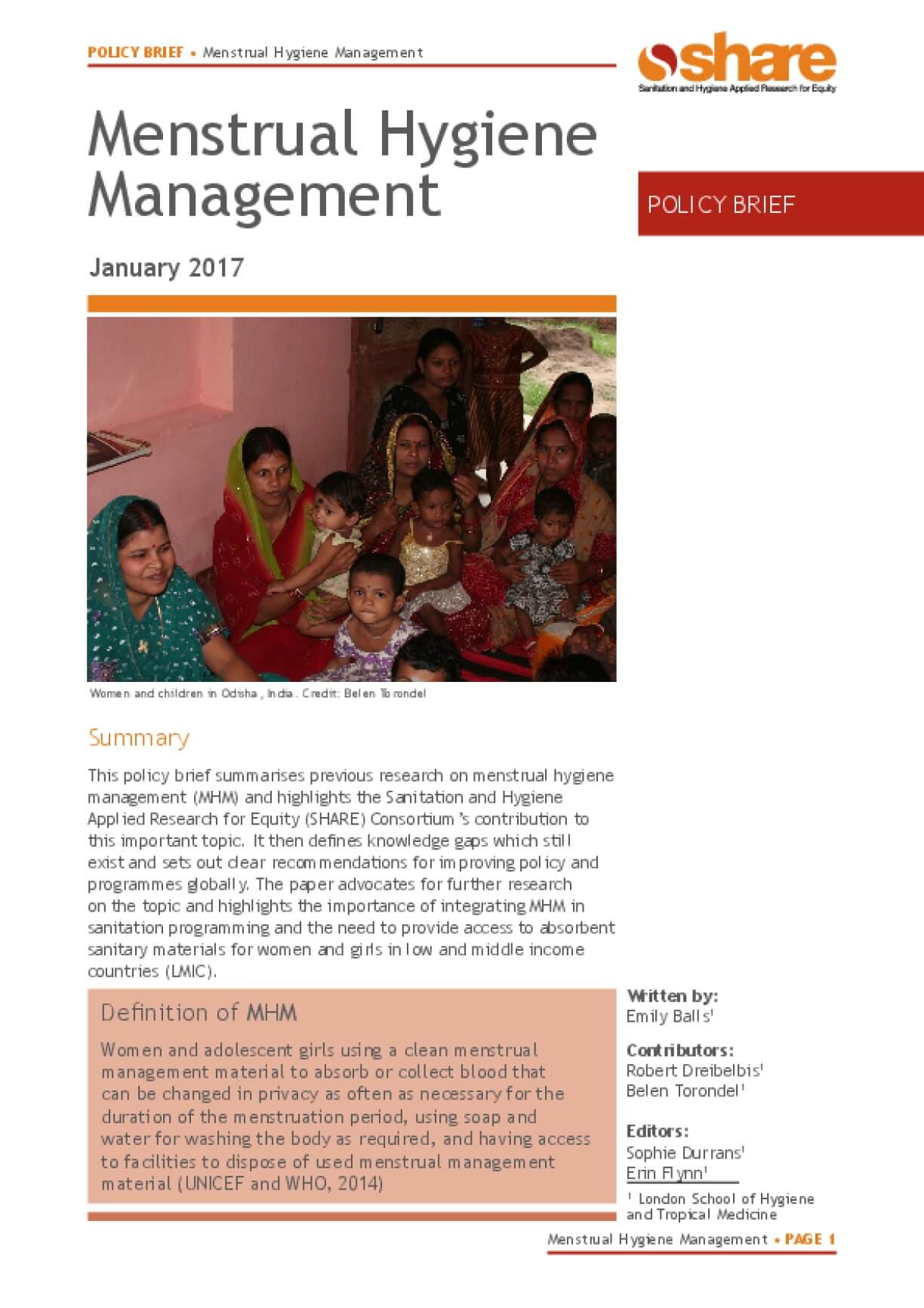 Menstrual Hygiene Management Policy Brief