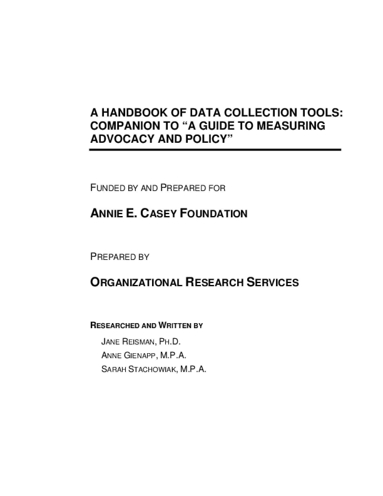 "A Handbook of Data Collection Tools: Companion to ""A Guide to Measuring Advocacy and Policy"""