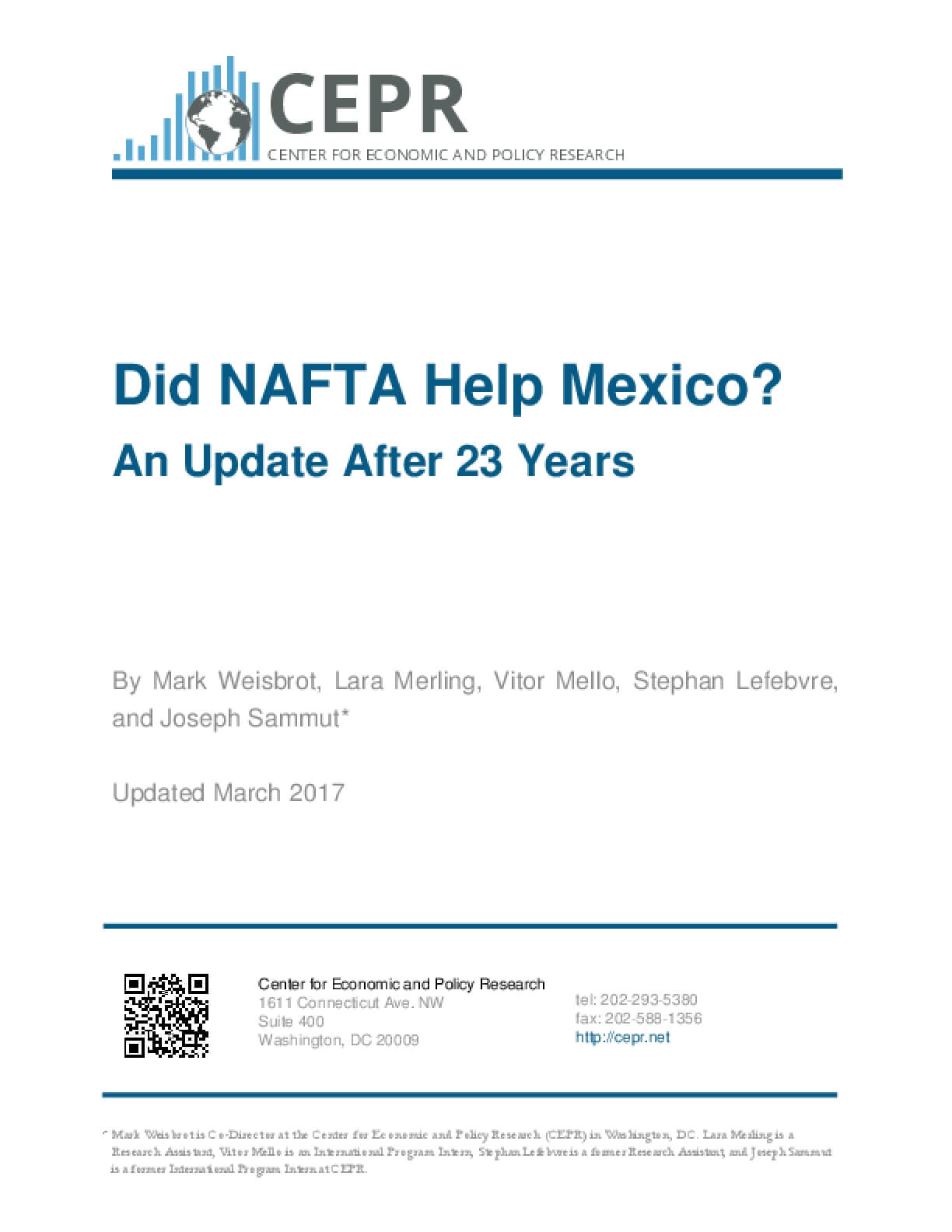 Did NAFTA Help Mexico? An Update After 23 Years