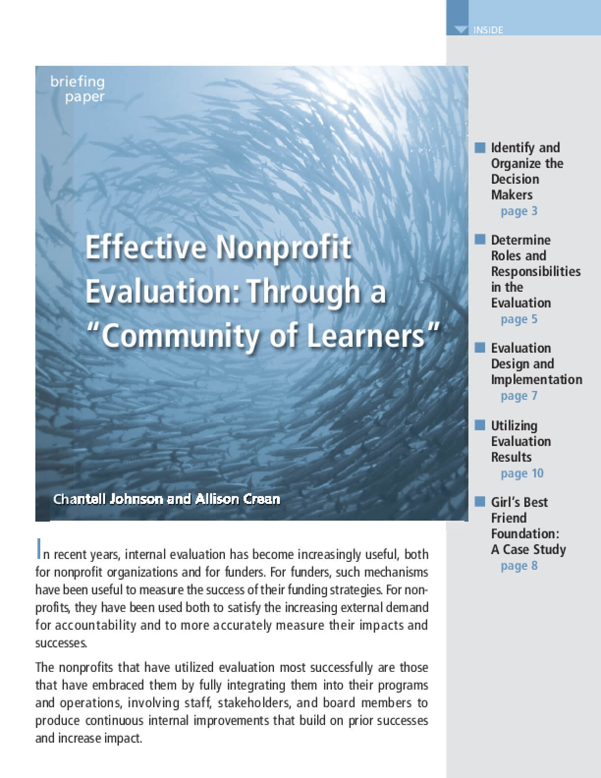 "Effective Nonprofit Evaluation: Through a "" Community of Learners"""