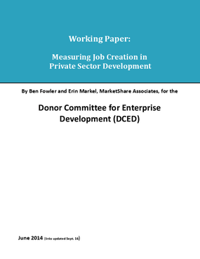 Working Paper: Measuring Job Creation in Private Sector Development