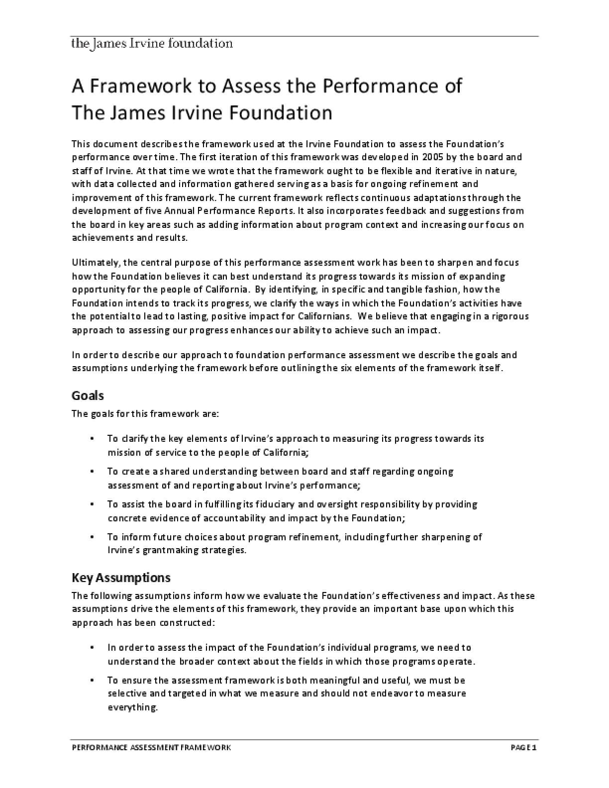 A Framework to Assess the Performance of The James Irvine Foundation