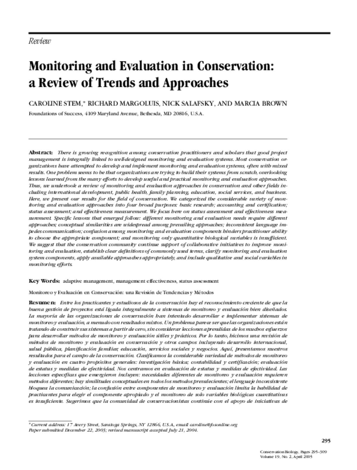 Monitoring and Evaluation in Conservation: A Review of Trends and Approaches