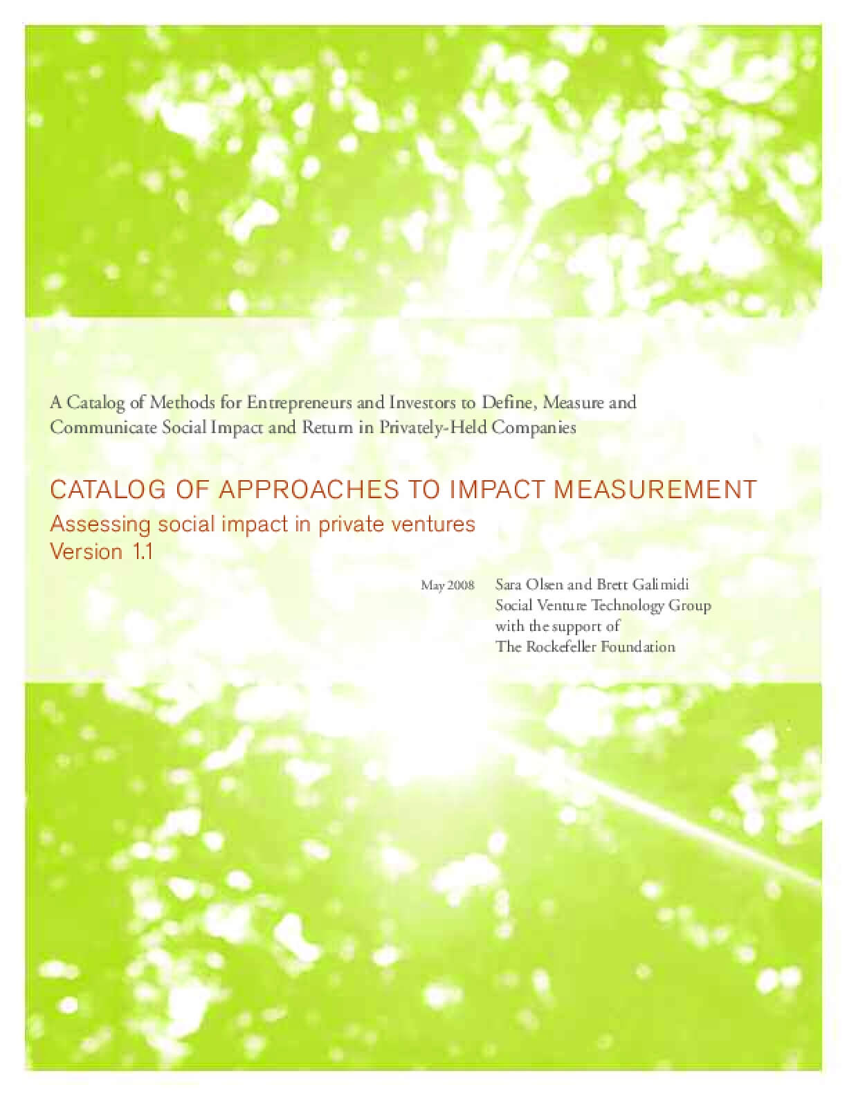 Catalog of Approaches to Impact Measurement: Assessing Social Impact in Private Ventures