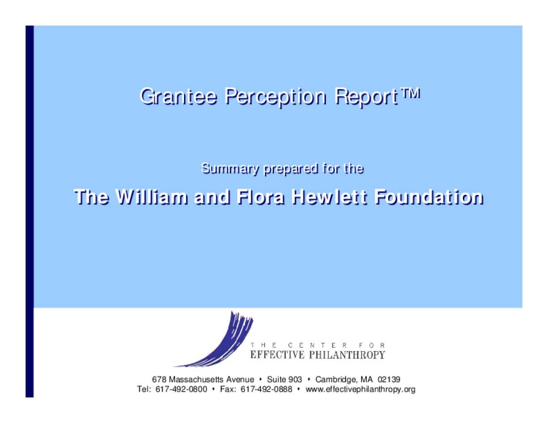 Grantee Perception Report (GPR)