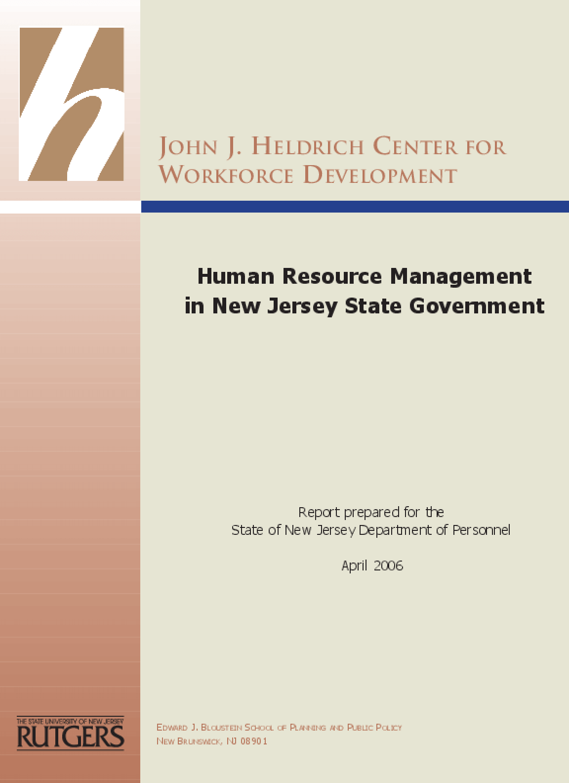 Human Resource Management in New Jersey State Government