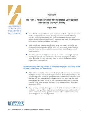 Highlights: Heldrich Center 2006 Employer Survey