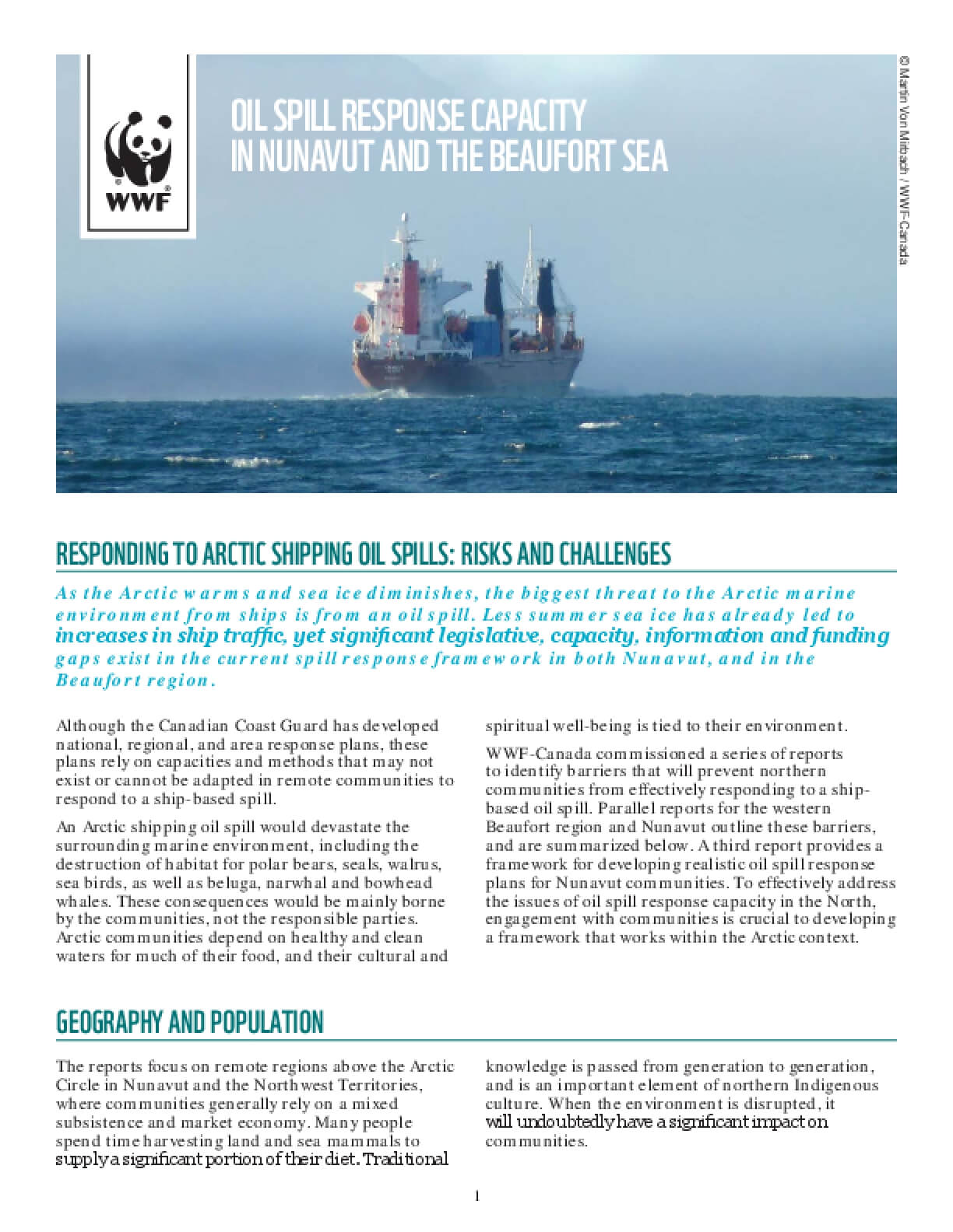 Oil Spill Response Capacity in Nunavut and The Beaufort Sea