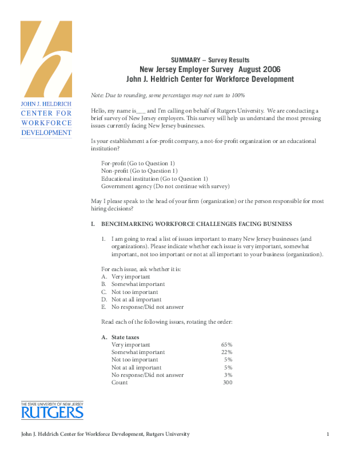 Heldrich Center 2006 Employer Survey Results