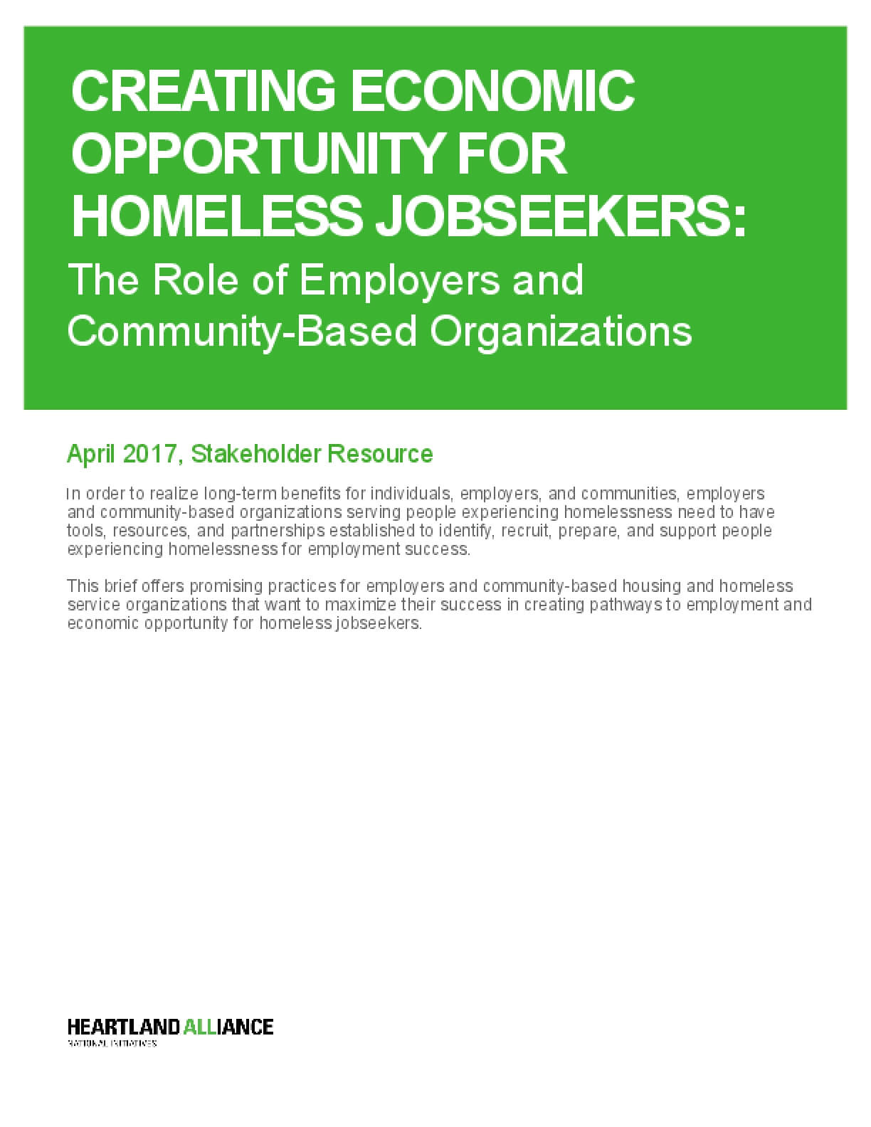 Creating Economic Opportunity for Homeless Jobseekers: The Role of Employers and Community-Based Organizations