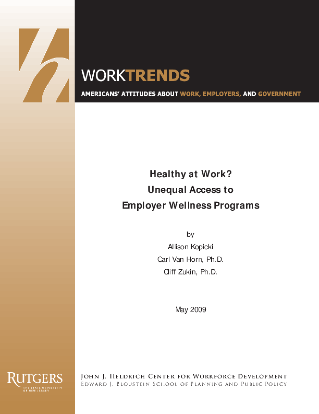 Healthy at Work? Unequal Access to Employer Wellness Programs