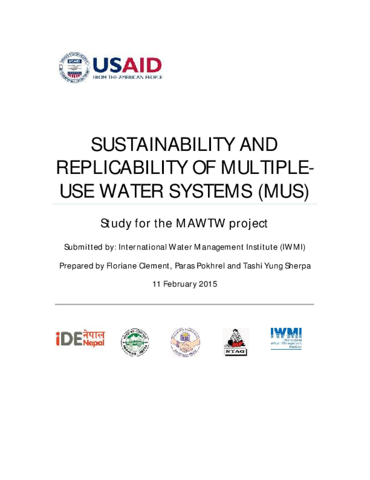 Sustainability and Replicability of Multiple-Use Water Systems (MUS)
