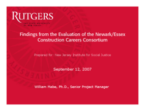 Findings from the Evaluation of the Newark/Essex Construction Careers Consortium