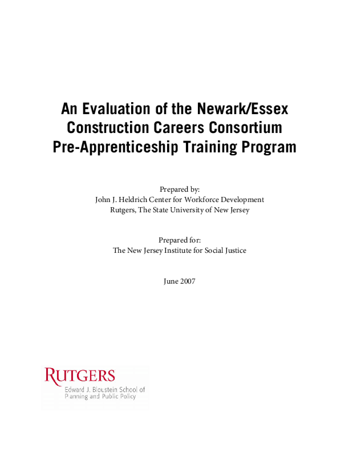 An Evaluation of the Newark/Essex Construction Careers Consortium