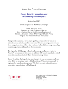 Energy Security, Innovation, and Sustainability Initiative: Brief Background on Workforce Challenges