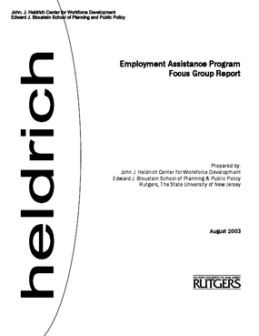 Employment Assistance Program Focus Group Report