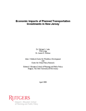 Economic Impacts of Planned Transportation Investments in New Jersey