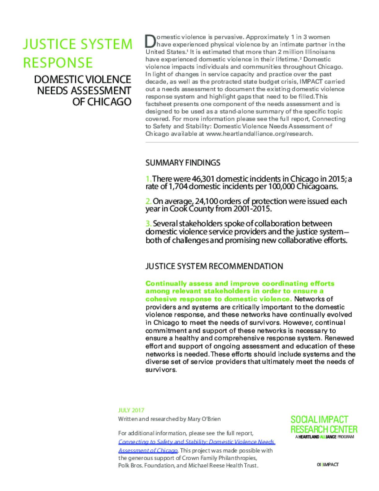Factsheet: Justice Response (DV Landscape)