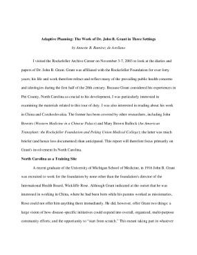 Adaptive Planning: The Work of Dr. John B. Grant in Three Settings