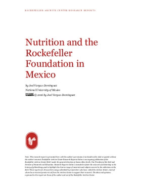 Nutrition and the Rockefeller Foundation in Mexico