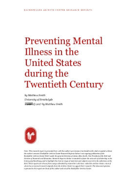Preventing Mental Illness in the United States during the Twentieth Century