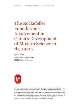 The Rockefeller Foundation's Involvement in China's Development of Modern Science in the 1920s