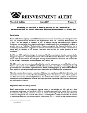 Reinvestment Alert 31 - Measuring the Provision of Banking Services for the Underbanked: Recommendations for a More Effective Community Reinvestment Act Service Test