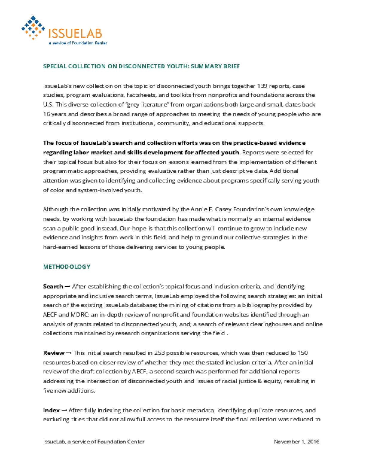 Special Collection on Disconnected Youth: Summary Brief