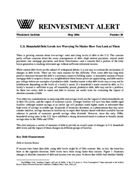 Reinvestment Alert 30: U.S. Household Debt Levels Are Worrying No Matter How You Look at Them