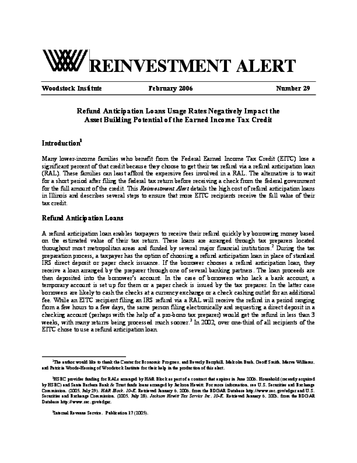 Reinvestment Alert 29: Refund Anticipation Loan Usage Rates Negatively Impact the Asset Building Potential of the Earned Income Tax Credit