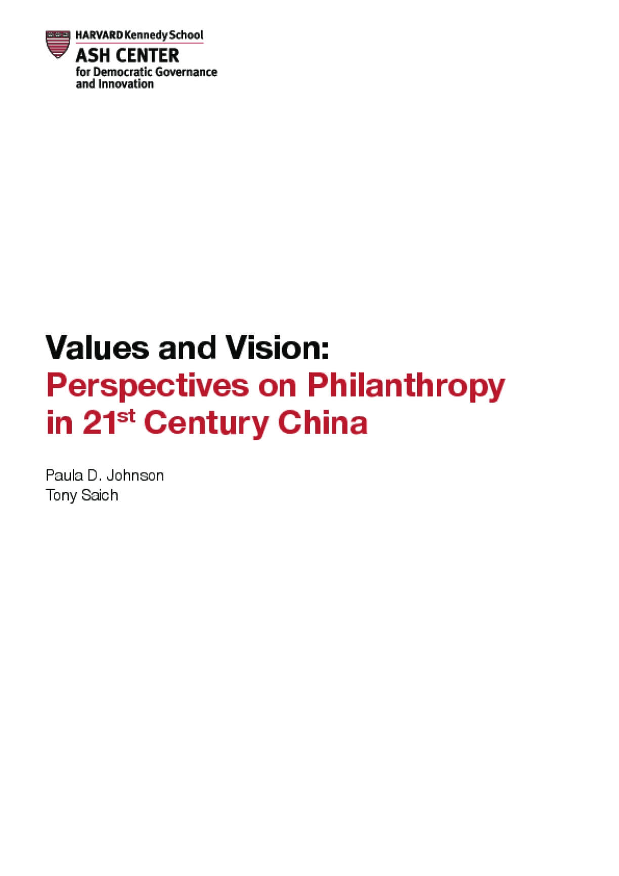 Values and Vision: Perspectives on Philanthropy in 21st Century China
