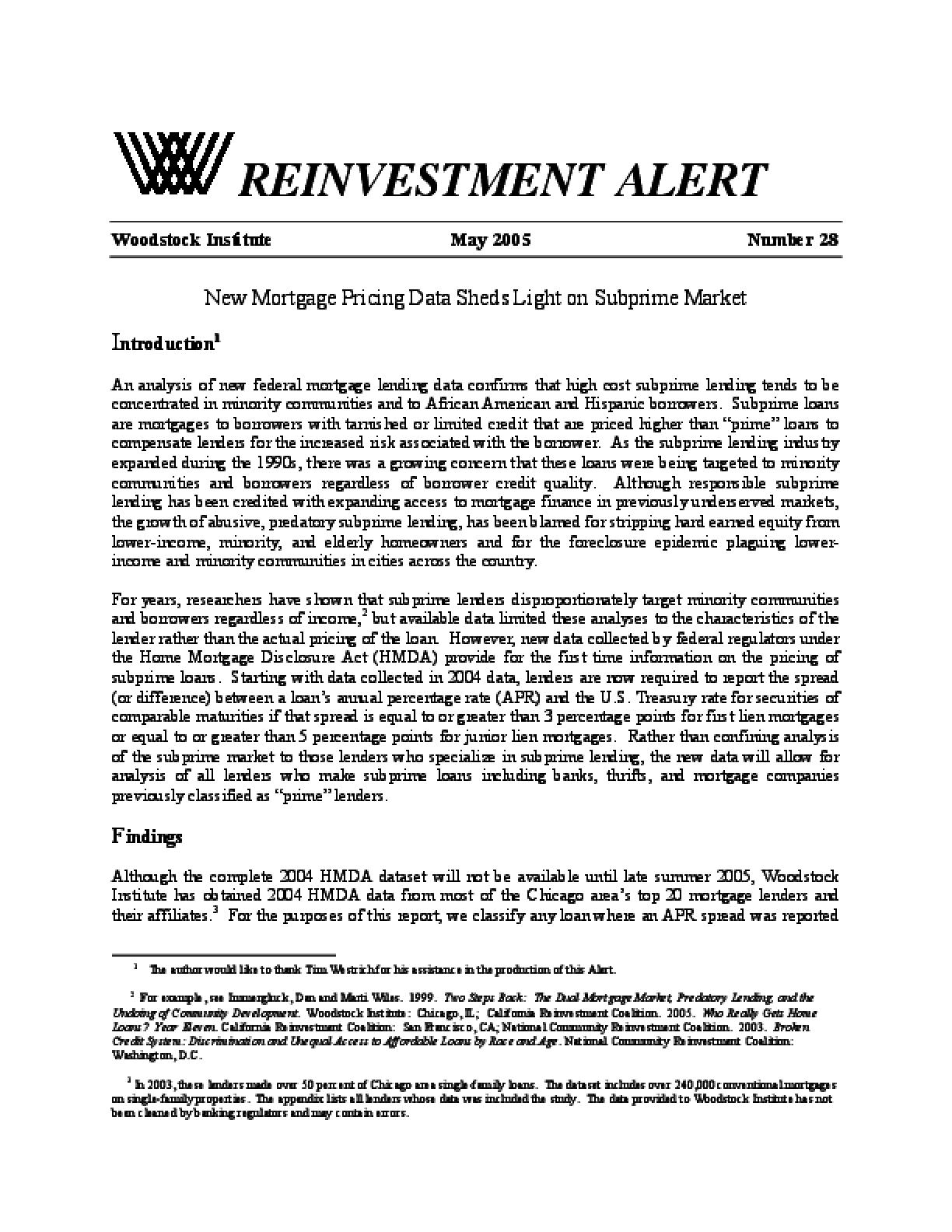 Reinvestment Alert 28 - New Mortgage Pricing Data Sheds Light on Subprime Market