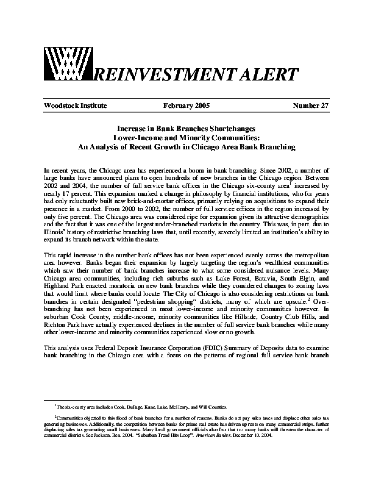 Reinvestment Alert 27 - Increase in Bank Branches Shortchanges Lower-Income and Minority Communities