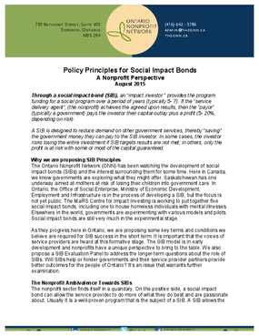 Policy Principles for Social Impact Bonds
