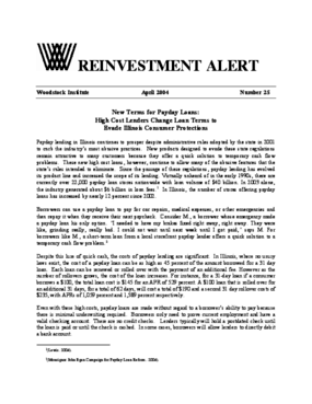 Reinvestment Alert 25: New Terms for Payday Loans - High Cost Lenders Change Loan Terms to Evade Illinois Consumer Protections