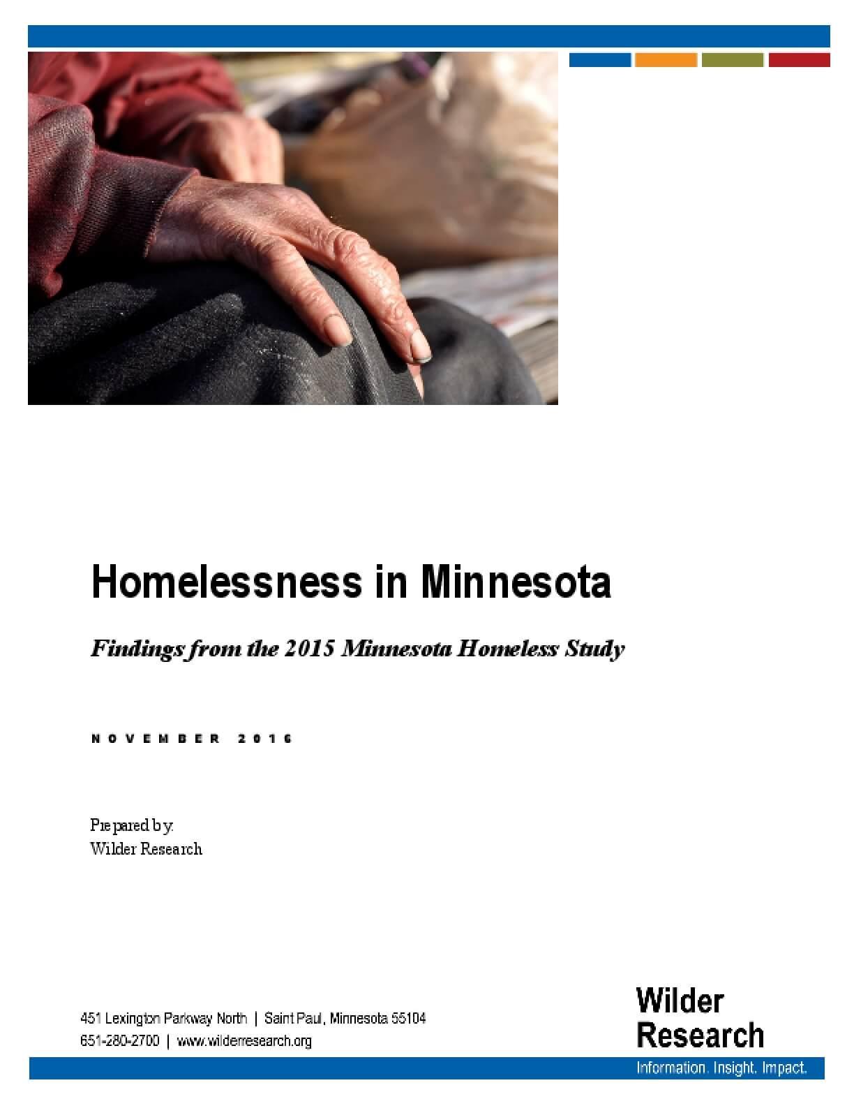 Homelessness in Minnesota: Findings from the 2015 Minnesota Homeless Study