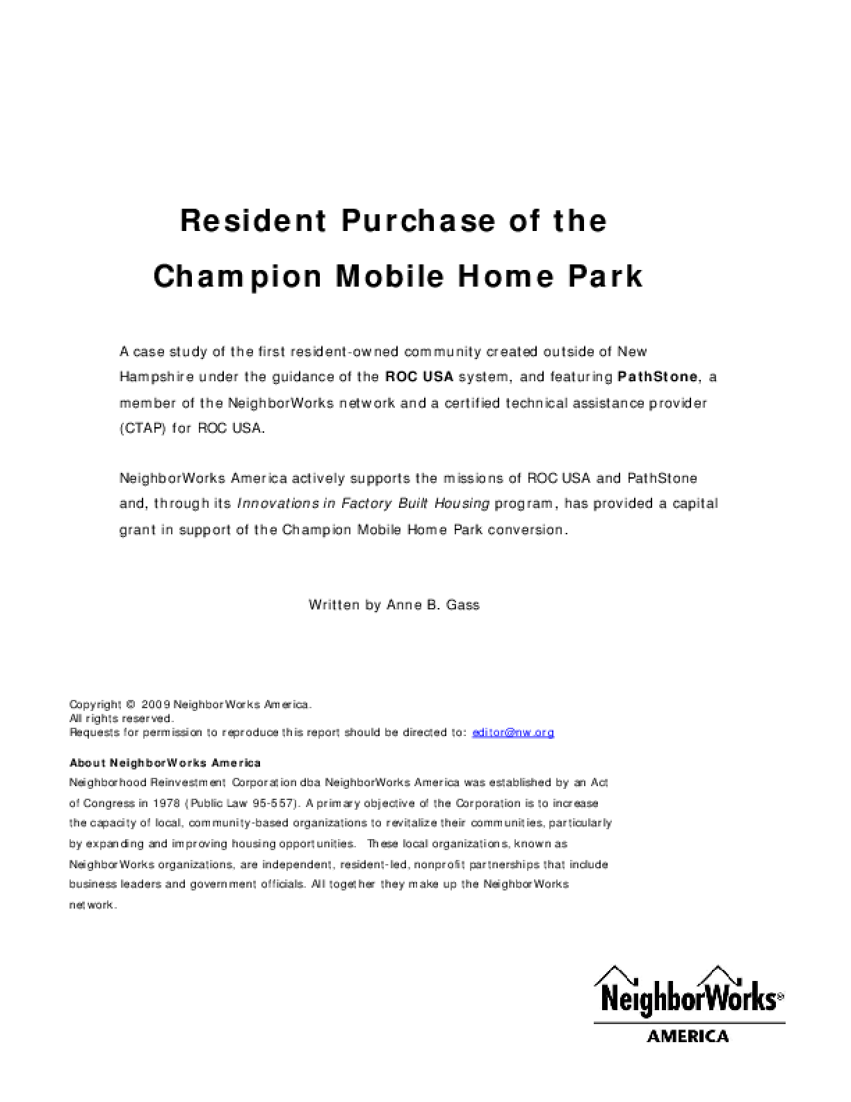 Resident Purchase of the Champion Mobile Home Park