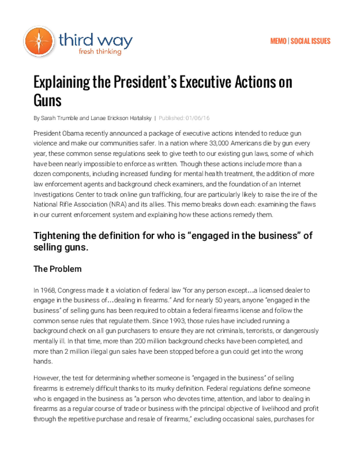 Explaining the President's Executive Actions on Guns