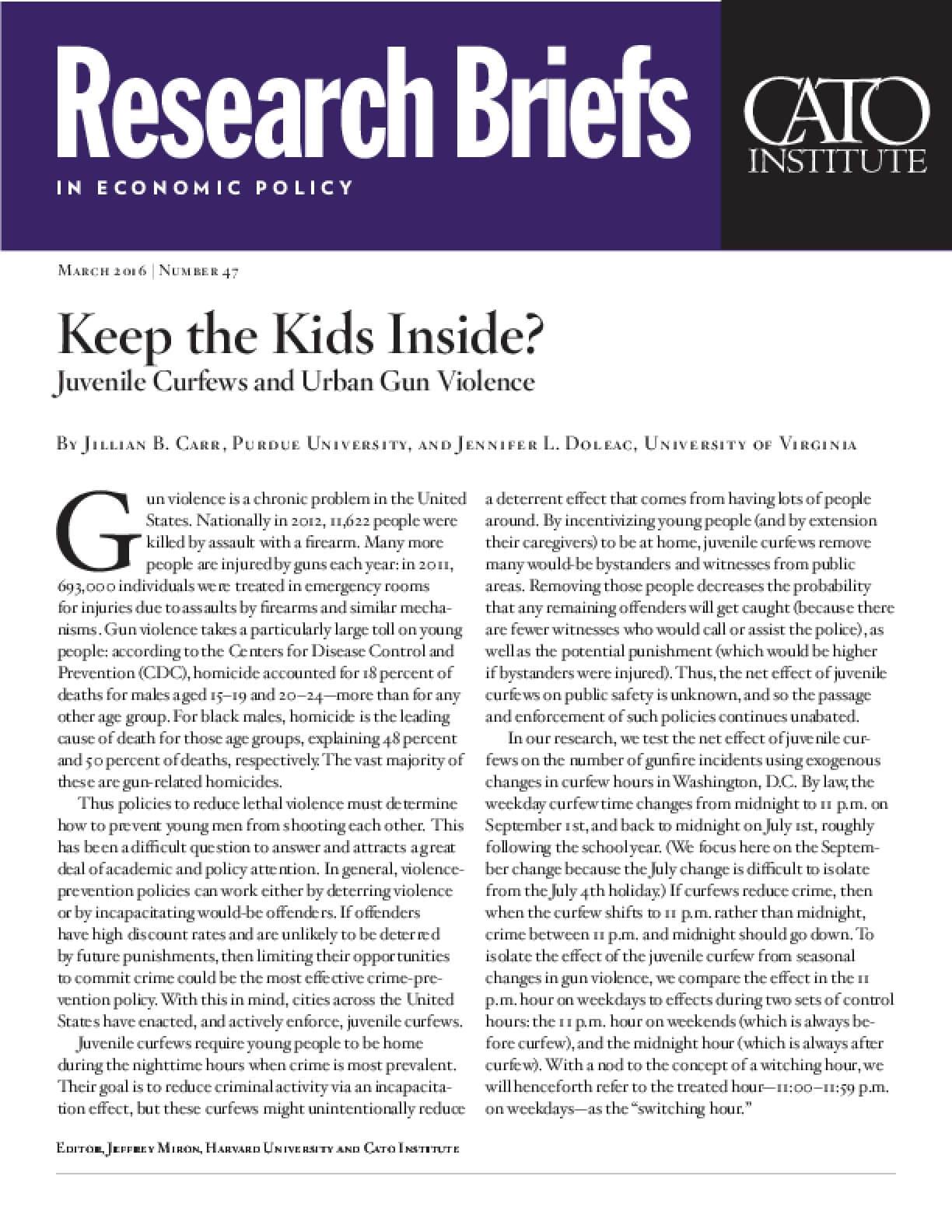 Keep the Kids Inside? Juvenile Curfews and Urban Gun Violence